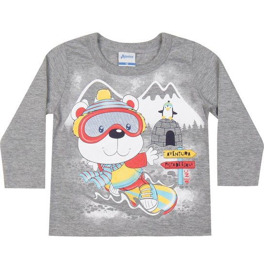 d32077f8a Camiseta Infantil Manga Longa Alenice Ursinho em Meia Malha Masculino -  Cinza