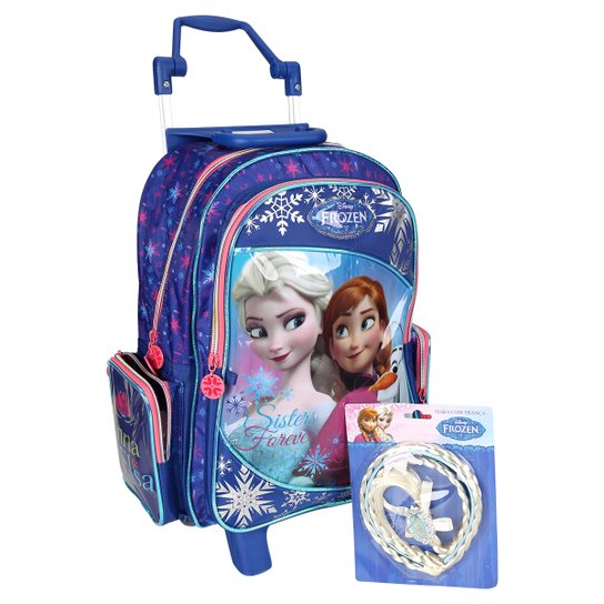 985e4f2a7 Mochila de Rodinha Dermiwil Frozen C/Brinde Infantil - Azul Royal