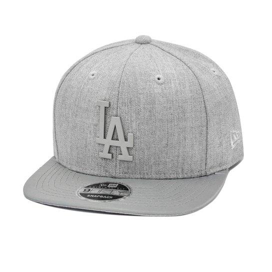 d3e1245f53be7 Boné New Era Snapback Original Fit Los Angeles Dodgers Silver Metal - Cinza