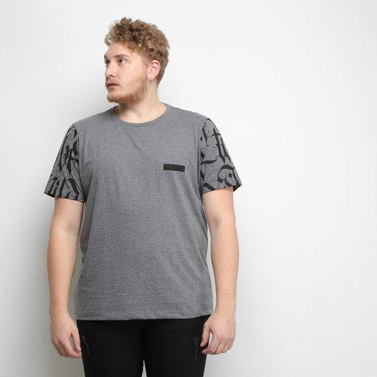 0f97f1e8e Camiseta All Free Estampada Plus Size Masculina - Cinza   Zattini