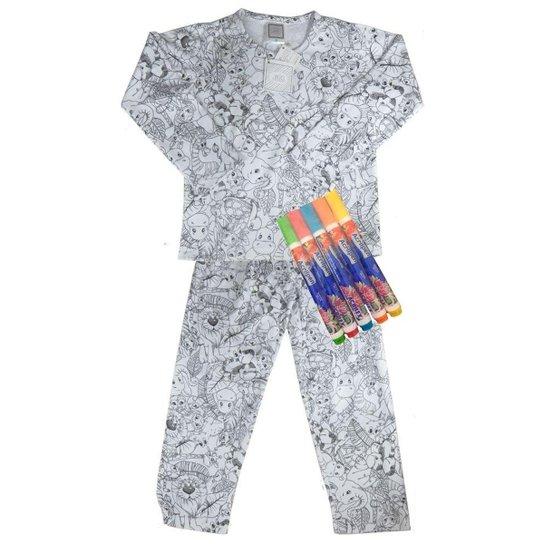 fcc18abfa5 Pijama Infantil Win Design Pintar Inverno Floresta Masculino - Cinza ...