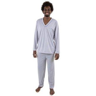 9cf288979 Pijama Linha Noite de Malha Masculino Longo Ref. 080 Cinza