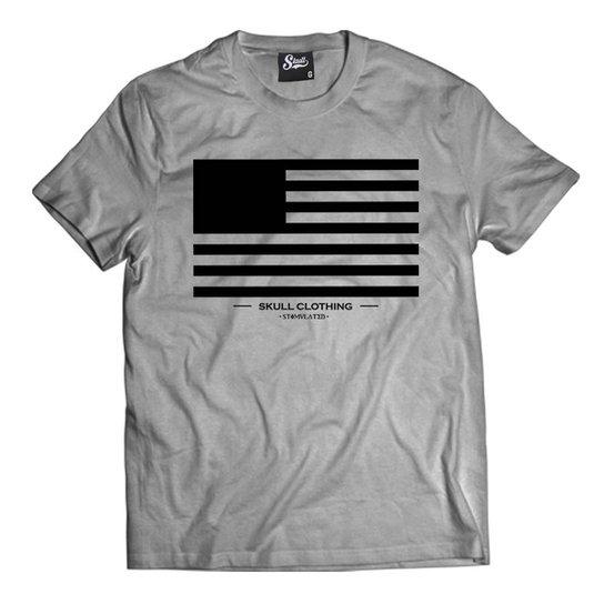 Camiseta Skull Clothing Flag Masculina - Cinza - Compre Agora  892aed4128a