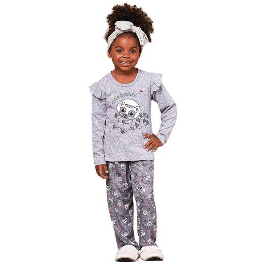 e0b2d09916707b Pijama Infantil de Inverno com Algodão Luna Cuore Feminino - Cinza