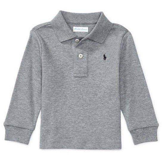 de1f4c9d6f Camisa Polo Bebê Ralph Lauren Manga Longa Masculina - Cinza