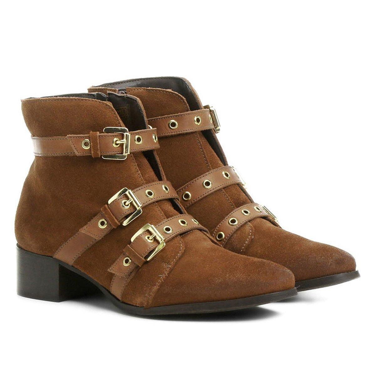 535729cd0 Bota Couro Cano Curto Shoestock Ilhós Feminina