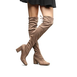 Bota Meia Over The Knee Shoestock Salto Grosso Feminina
