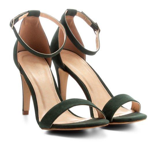 affe49e109 Sandália Couro Shoestock Salto Fino Naked Feminina - Verde escuro ...