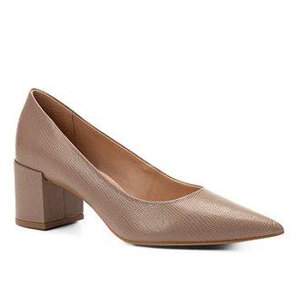 186bd90112 Scarpin Couro Shoestock Salto Médio Lezard