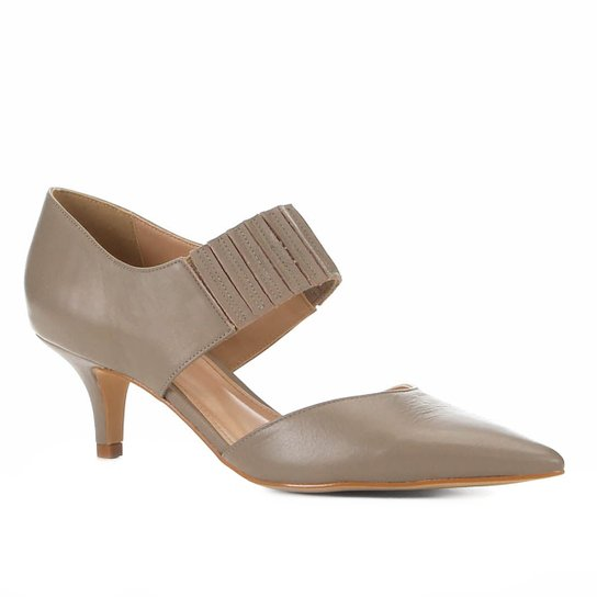 40054c3dba Scarpin Couro Shoestock Salto Médio Elástico - Cinza - Compre Agora ...
