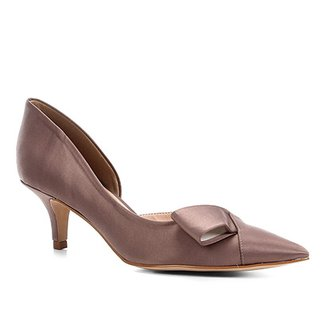 b4b1d308e Scarpin Shoestock Salto Baixo Laço Cetim