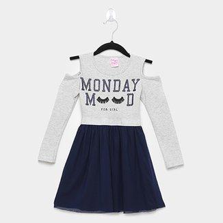 2289f4cd8 Vestido Infantil For Girl Open Shoulder Saia Tule Manga Longa