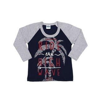 89d3454a730 Camiseta Manga Longa Infantil Para Menino - Cinza
