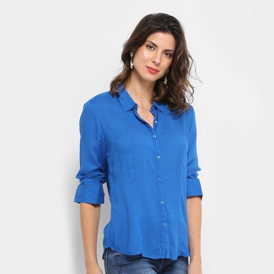 c54e7ee024 Camisa Aishty Manga Longa Feminina - Azul Royal