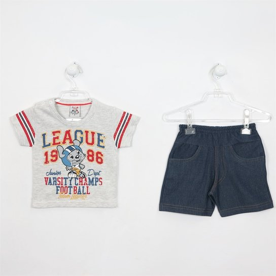 3cd8c17e3d Conjunto Bebê Masculino Verão Camiseta Cinza - Compre Agora