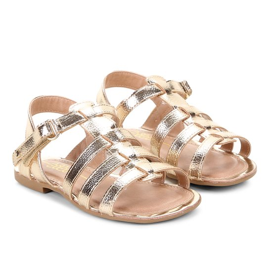 99a77988e Sandália Infantil Bibi Tiras Feminina - Dourado - Compre Agora