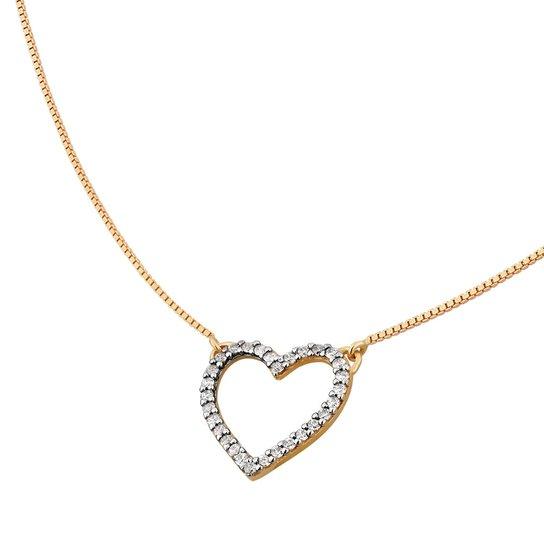 Colar de Coração Vazado Cravejado em Ouro 18k - Ouro - Compre Agora ... ad8e0af934