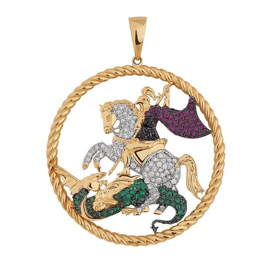 Pingente São Jorge Cravejado em Ouro 18k - Compre Agora   Zattini 29dcac8cf1