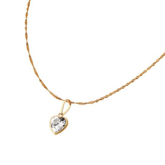 Colar Ponto de Luz com Coração em Ouro 18k com Corrente Singapura - Ouro a9950ae7bf