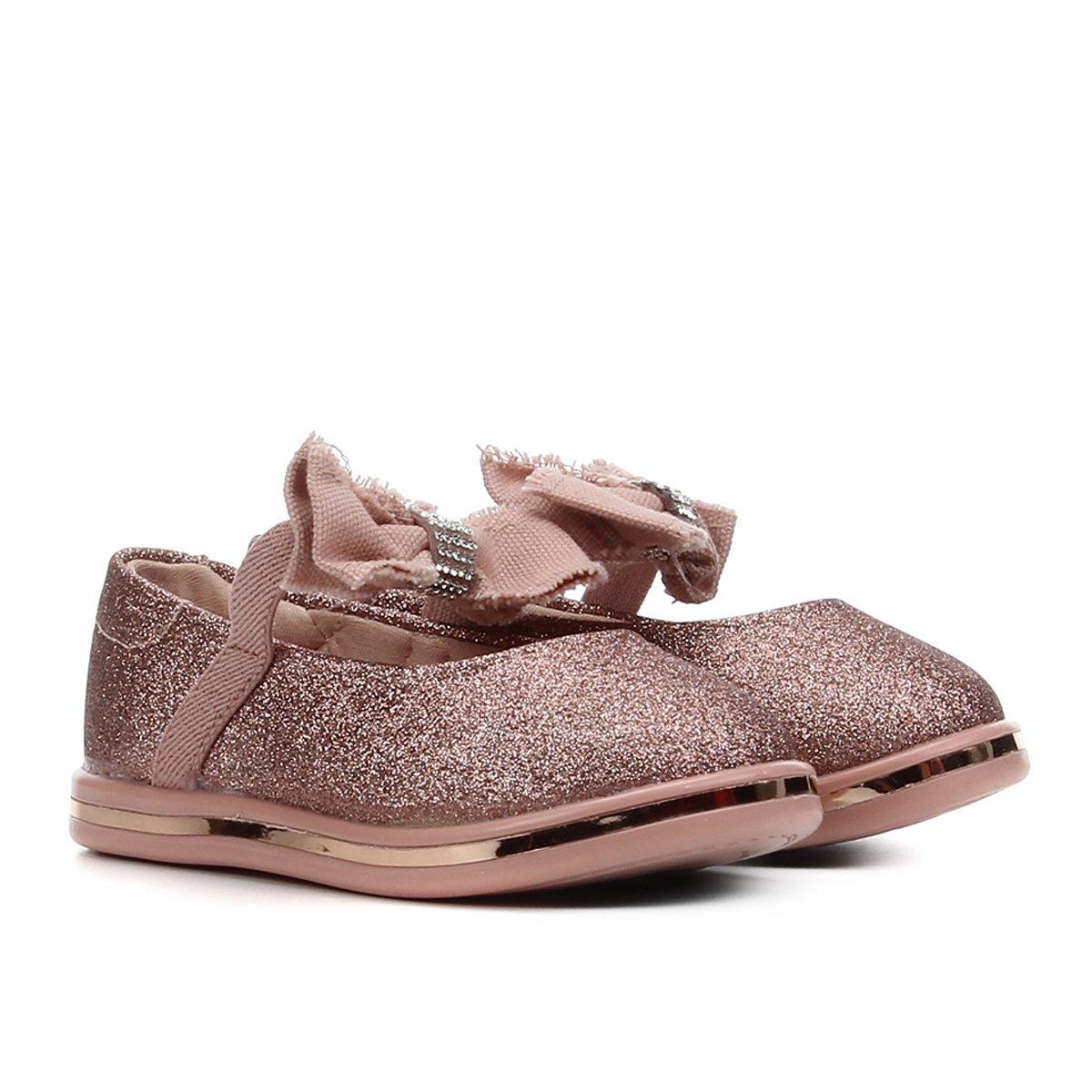 Sapato Infantil Molekinha Glitter Laço Feminino