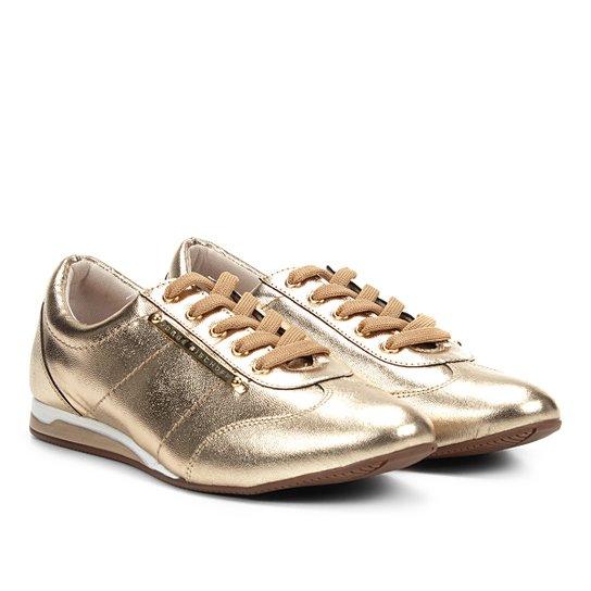6f9ec1252c Tênis Couro Jorge Bischoff Jogging Placa Metalizado Feminino - Dourado