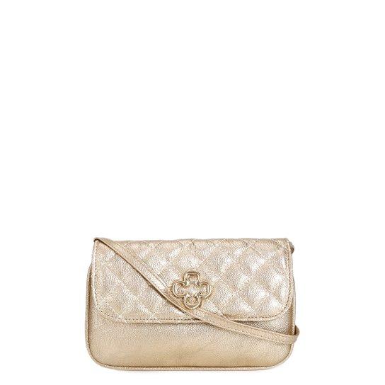 958755bd7 Bolsa Couro Capodarte Mini Bag Transversal Metalizada Feminina - Ouro