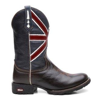 e121498c53 Bota Texana Com Cafe Escuro Bandeira Da Inglaterra Bico Redondo