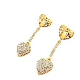 7e865a96b5 Brinco Pratamil Coração de Ouro com Zircônia