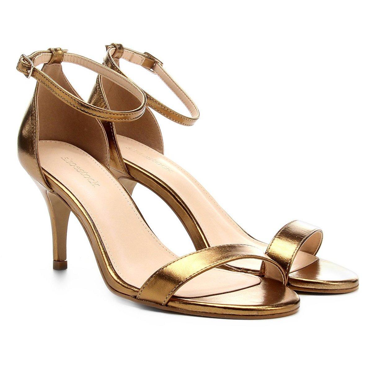 4e3fa8d1b Sandália Couro Shoestock Salto Fino Metalizada Feminina