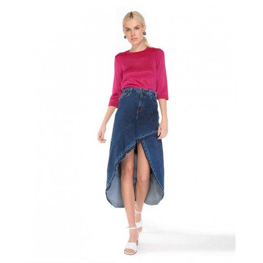 c66fa4958 Saia Amaro Jeans Midi Babado - Compre Agora | Zattini