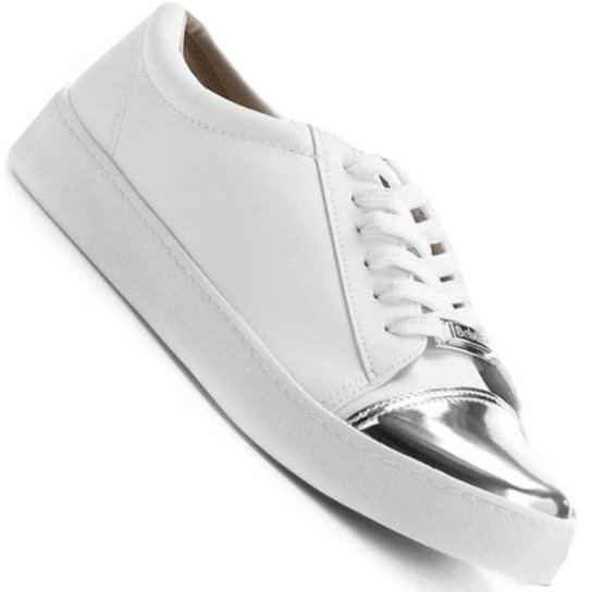2859297f92 Tênis Bebecê Napa Walking Casual Feminino - Branco e prata