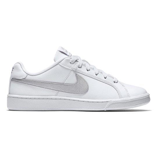 Tênis Couro Nike Court Royale Feminino - Branco e prata - Compre ... 36ccec13715f9