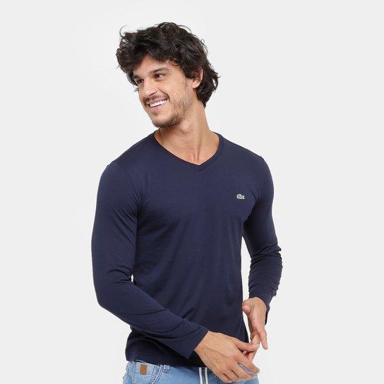 d31b040e79084 Camiseta Lacoste Manga Longa Logo Masculina - Compre Agora