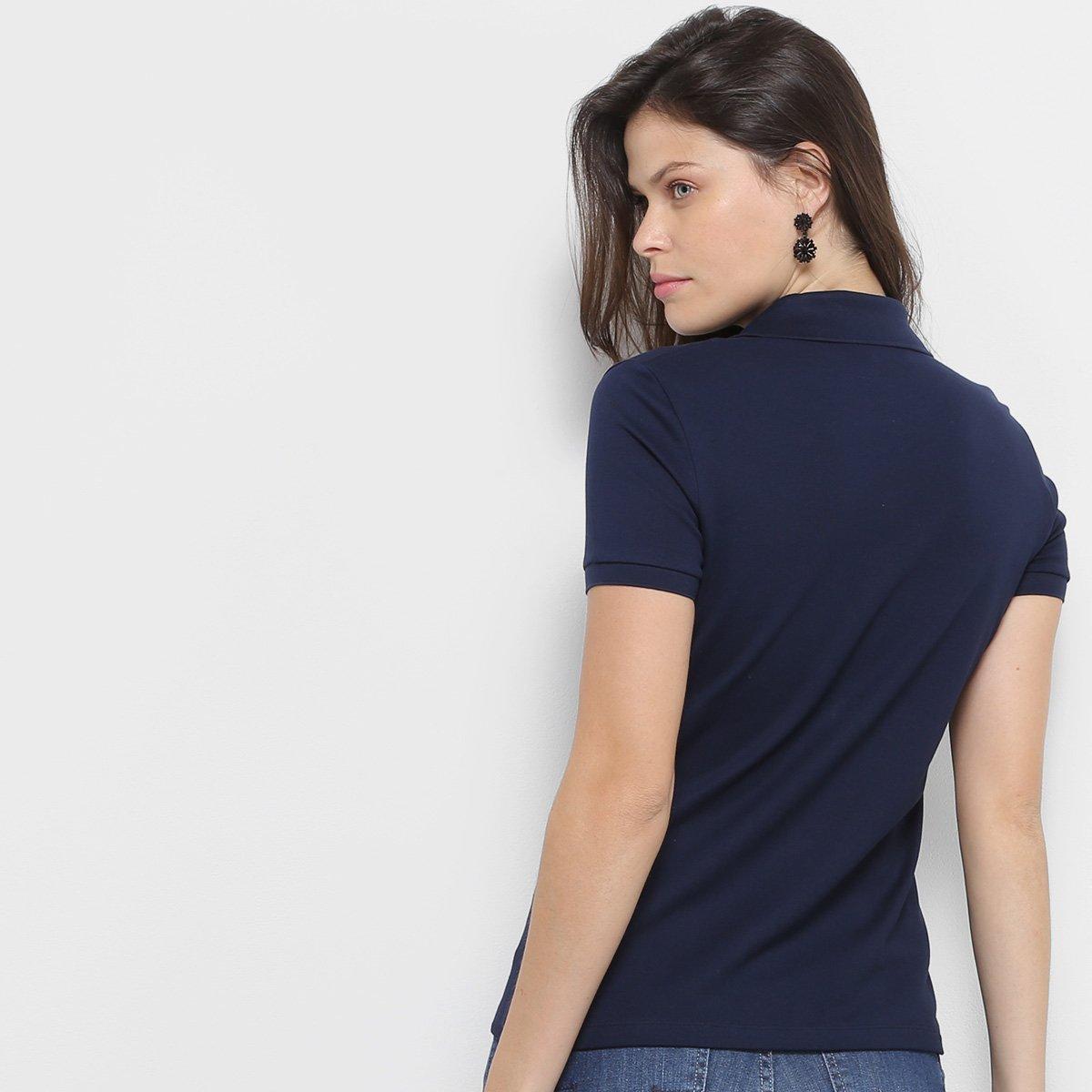 Camisa Polo Lacoste Piquet Manga Curta Feminina  f03cfc174c63e