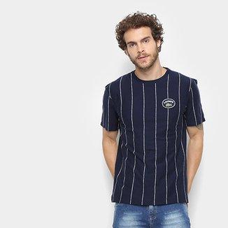 77465cbacf358 Camiseta Lacoste Detalhe Listras Masculina
