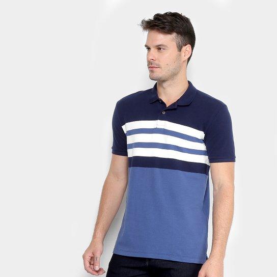 af721efd46 Camisa Polo Calvin Klein Listrada Masculina - Marinho