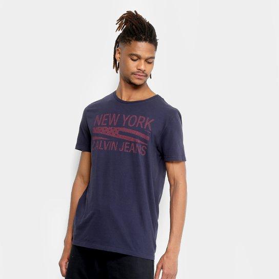 59b1965f76595 Camiseta Calvin Klein Slim Estampada Masculina - Marinho - Compre ...