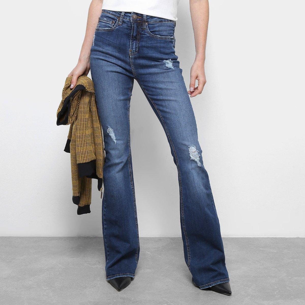 c107da278 Calça Jeans Flare Calvin Klein Five Pockets Cintura Média Feminina