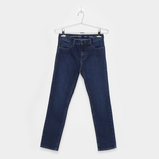 5aec3e178e7d0b Calça Jeans Skinny Infantil Calvin Klein Five Pockets Masculina - Marinho