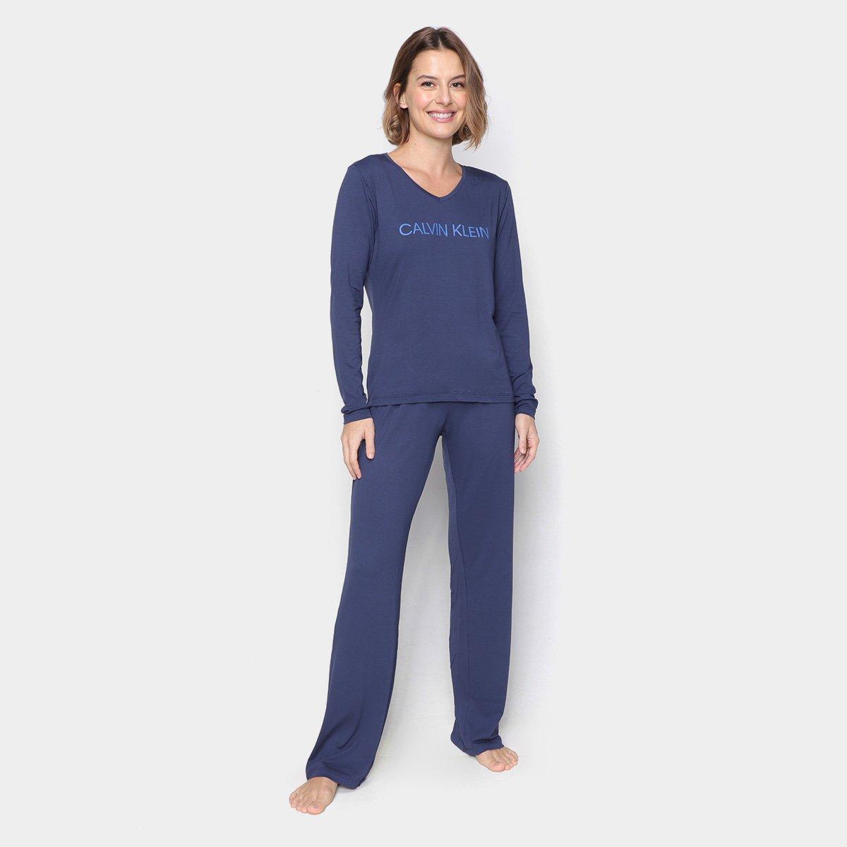 Pijama Longo Calvin Klein Viscolight Feminino