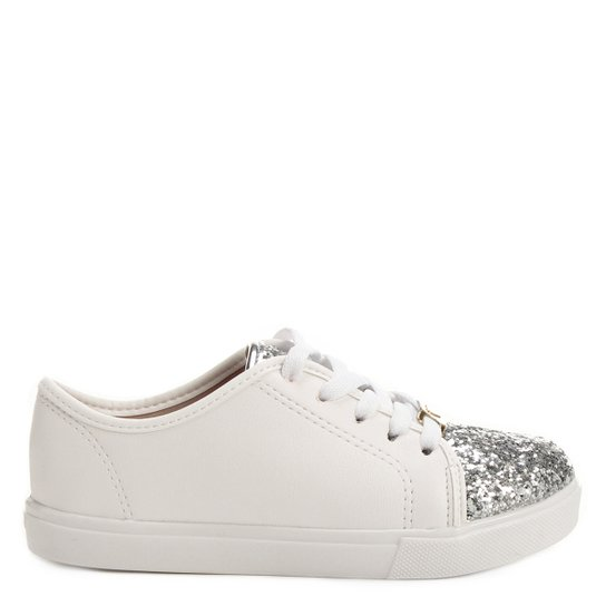 97f845dab4f Tênis Molekinha Glitter Infantil - Branco e prata - Compre Agora ...