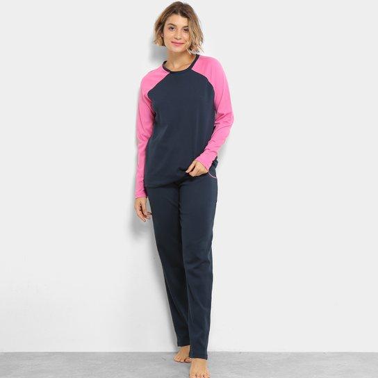 5a25d757c6cfcd Pijama Lupo com Neon Feminino - Marinho