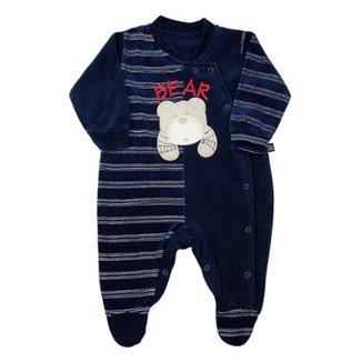 Macacão Bebê Plush Liso e Listrado Bear Ano Zero Masculino 8f384010be3c5