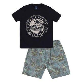 d95c60507c9 Conjunto Camiseta e Bermuda Hawaii Beach 1mais1 Masculino
