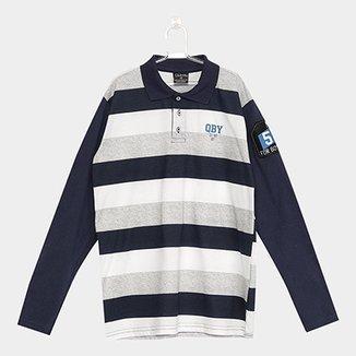 e5a1f2b85b Camisa Polo Infantil Quimby Manga Longa Estampa Listrada Masculina