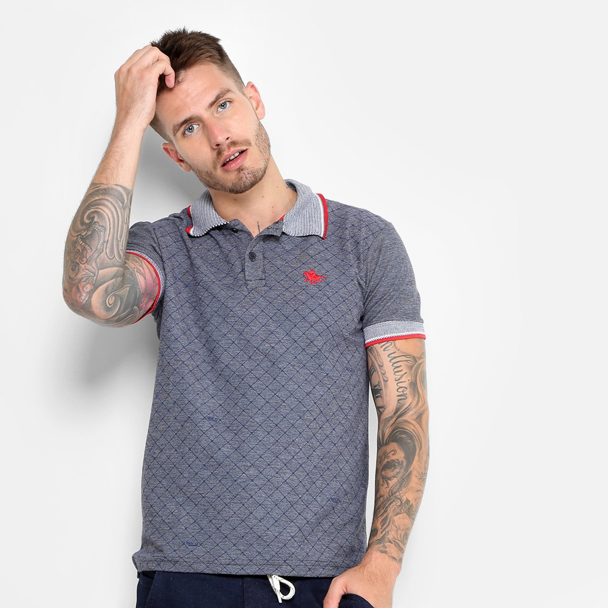 eb4be95436 Camisa Polo RG 518 Piquet Indigo Full Print Bordado Masculina