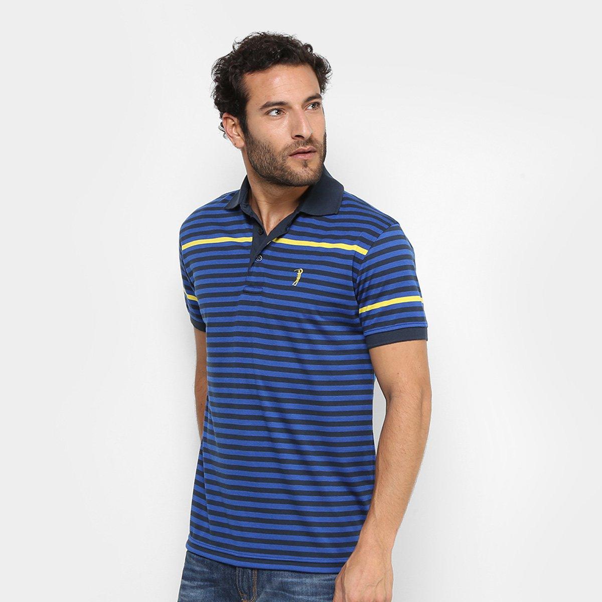 Camisa Polo Aleatory Malha Listras Masculina 60d6e7f7c6081