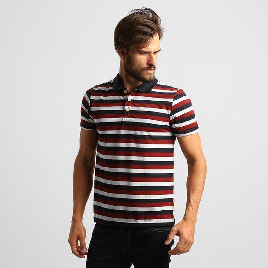 6b68a5ced3 Camisa Polo Mosato Malha Listras - Marinho+Vermelho