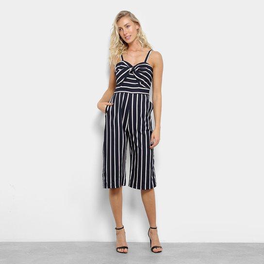 2377603dd Macacão Pantacourt Lily Fashion Listrado Nó Feminino - Compre Agora ...