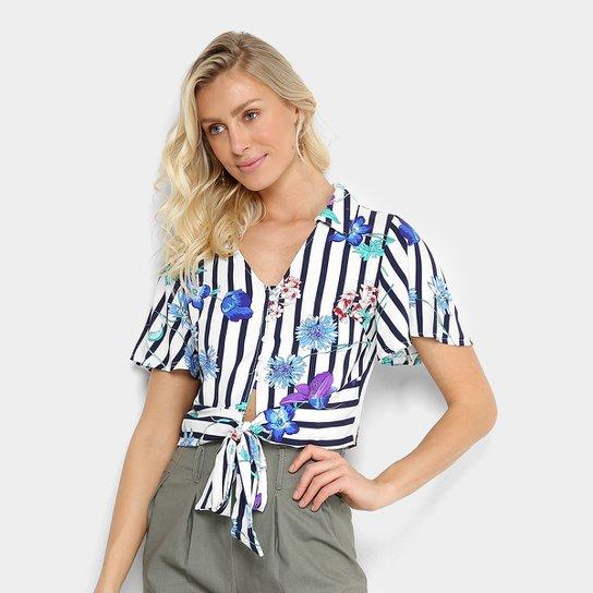 92bac1be0b0ae Blusa Cropped Listrada Lily Fashion Amarração Feminina - Compre ...